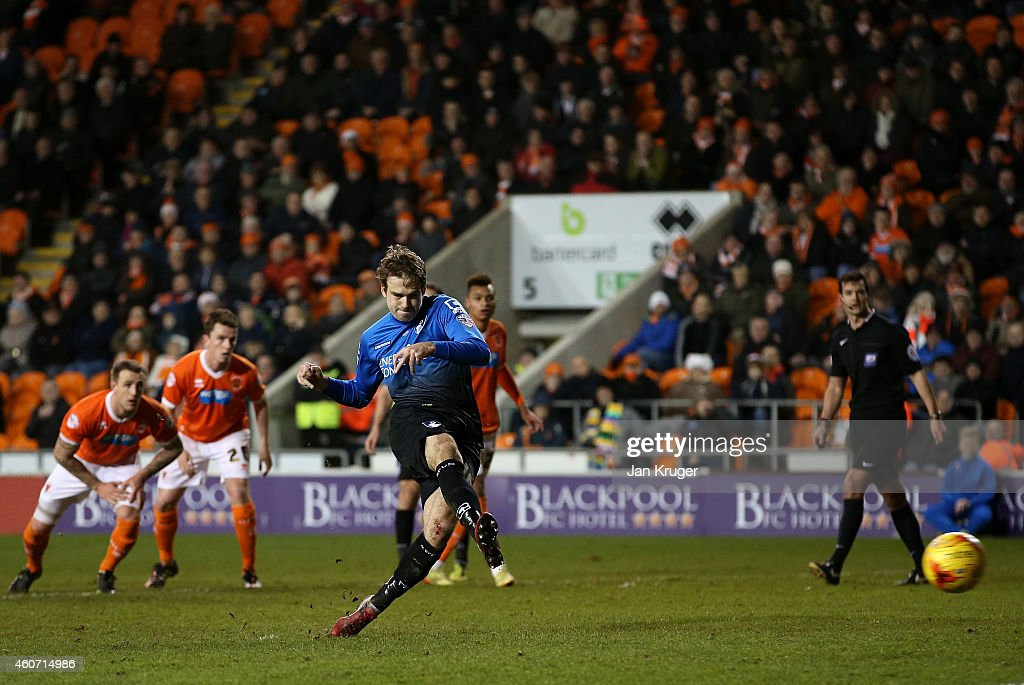 Brett Pitman of AFC Bournemouth scores from the penalty during the Sky Bet Championship match between Blackpool and Bournemouth at Bloomfield Road on December 20, 2014 in Blackpool, England.