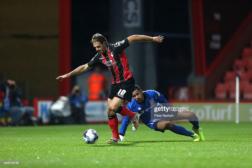 Brett Pitman of AFC Bournemouth takes the ball around Jordan Archer of Northampton Town to score his sides second goal during the Capital One Cup Second Round match between AFC Bournemouth and Northampton Town at Goldsands Stadium on August 26, 2014 in Bournemouth, England.