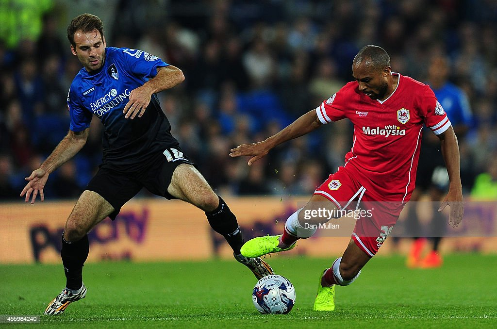 Brett Pitman of Bournemouth (L) battles for the ball with Daniel Gabbidon of Cardiff City during the Capital One Cup third round match between Cardiff City and Bournemouth at Cardiff City Stadium on September 23, 2014 in Cardiff, Wales.