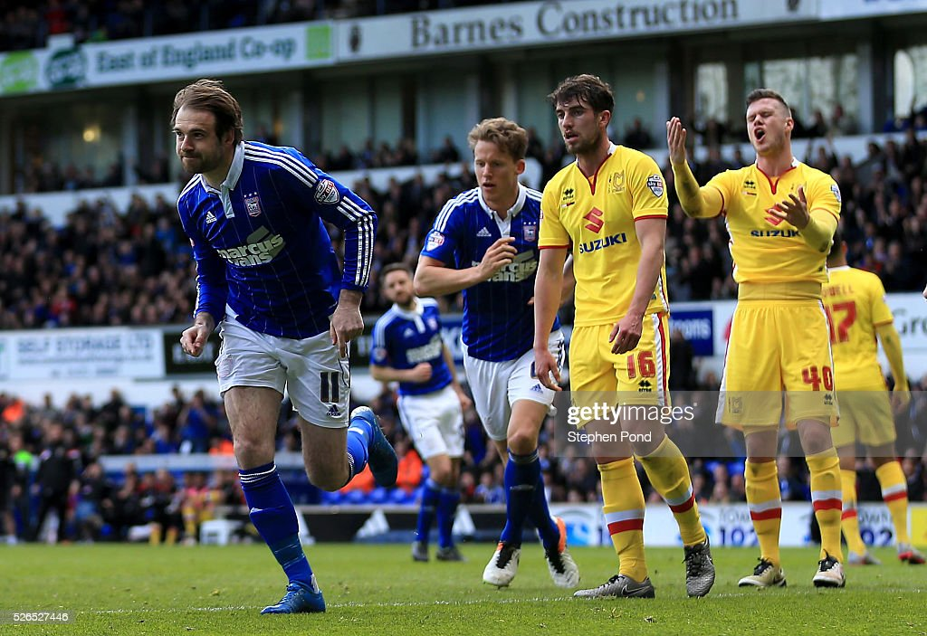 Brett Pitman of Ipswich Town celebrates scoring his sides second goal during the Sky Bet Championship match between Ipswich Town and Milton Keynes Dons at Portman Road on April 30, 2016 in Ipswich, England.