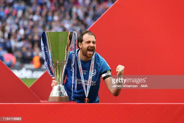 Brett Pitman of Portsmouth celebrates winning the Checkatrade trophy during the Checkatrade Trophy Final between Sunderland AFC and Portsmouth FC at...