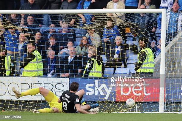 Brett Pitman of Portsmouth scores a goal to make it 02 during the Sky Bet League One match between Shrewsbury Town and Portsmouth at New Meadow on...