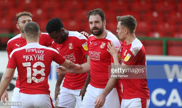 Brett Pitman of Swindon Town celebrates after scoring his sides second goal during the Sky Bet League One match between Swindon Town and Northampton...