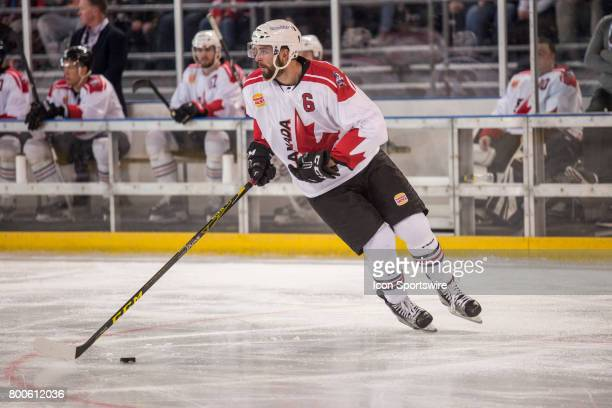 Brett Ponich of Team Canada looks for options during the Melbourne Game of the Ice Hockey Classic on June 24 2017 held at Hisence Arena Melbourne...