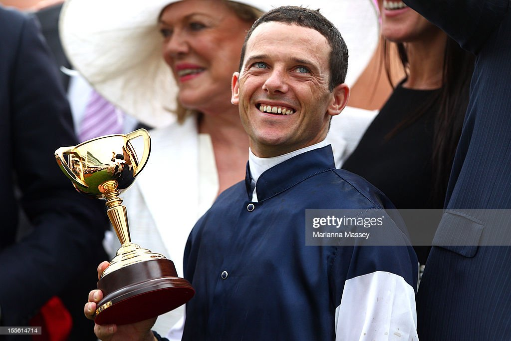 Brett Prebble riding Green Moon celebrates winning the Emirates Melbourne Cup during 2012 Melbourne Cup Day at Flemington Racecourse on November 6, 2012 in Melbourne, Australia.