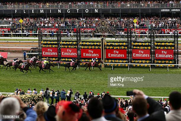 Brett Prebble riding Green Moon wins the Emirates Melbourne Cup during 2012 Melbourne Cup Day at Flemington Racecourse on November 6 2012 in...
