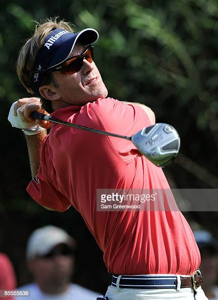 Brett Quigley plays a shot on the 14th hole during the final round of the Transitions Championship at the Innisbrook Resort and Golf Club on March 22...