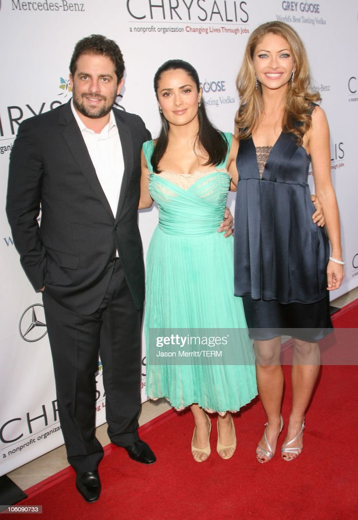 Brett Ratner, Salma Hayek and Rebecca Gayheart during Chrysalis' 5th Annual Butterfly Ball at The Italian Villa Carla & Fred Sands in Bel Air, California, United States.