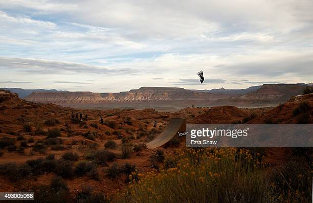 Brett Rheeder goes over a jump before the start of the finals for the Red Bull Rampage on October 16 2015 in Virgin Utah The Red Bull Rampage is an...