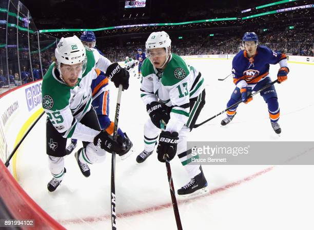Brett Ritchie and Mattias Janmark of the Dallas Stars skates against the New York Islanders during the third period at the Barclays Center on...