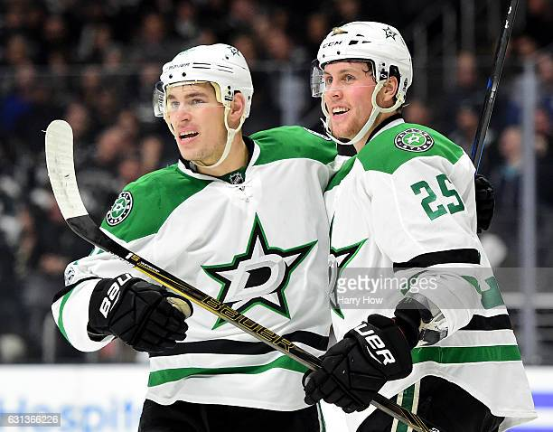 Brett Ritchie of the Dallas Stars celebrates his goal with Adam Cracknell to take a 10 lead over the Los Angeles Kings during the first period at...