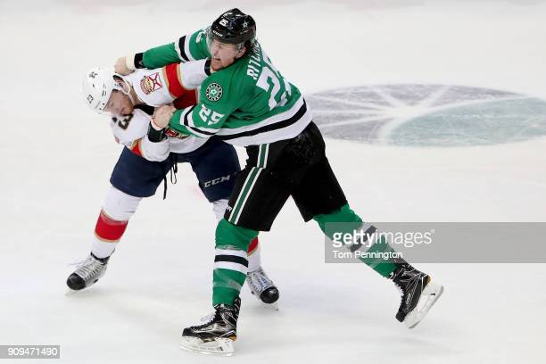 Brett Ritchie of the Dallas Stars fights with Connor Brickley of the Florida Panthers in the third period at American Airlines Center on January 23...