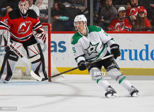Brett Ritchie of the Dallas Stars skates against the New Jersey Devils at the Prudential Center on March 26 2017 in Newark New Jersey The Stars...