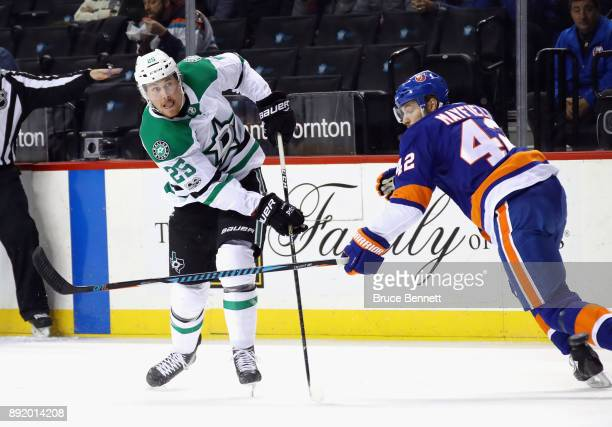 Brett Ritchie of the Dallas Stars skates against the New York Islanders at the Barclays Center on December 13 2017 in the Brooklyn borough of New...