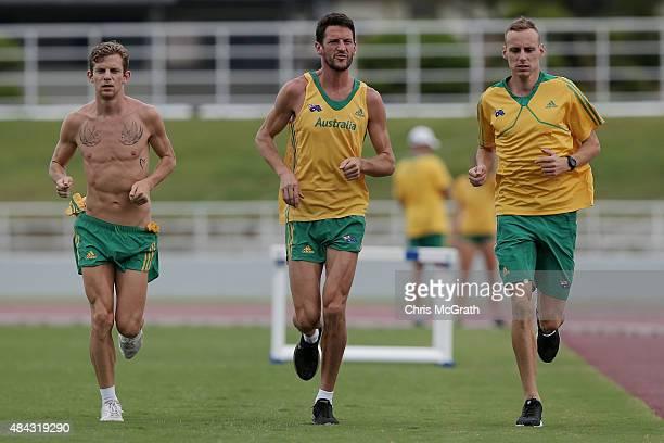 Brett Robinson Collis Birmingham and Ryan Gregson of Australia trains during the Australian Flame Team Camp training session held at Kimidera...