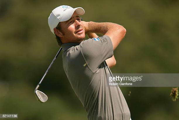 Brett Rumford of Australia in action during day four of the 2005 Heineken Classic at the Royal Melbourne Golf Club February 6 2005 in Melbourne...