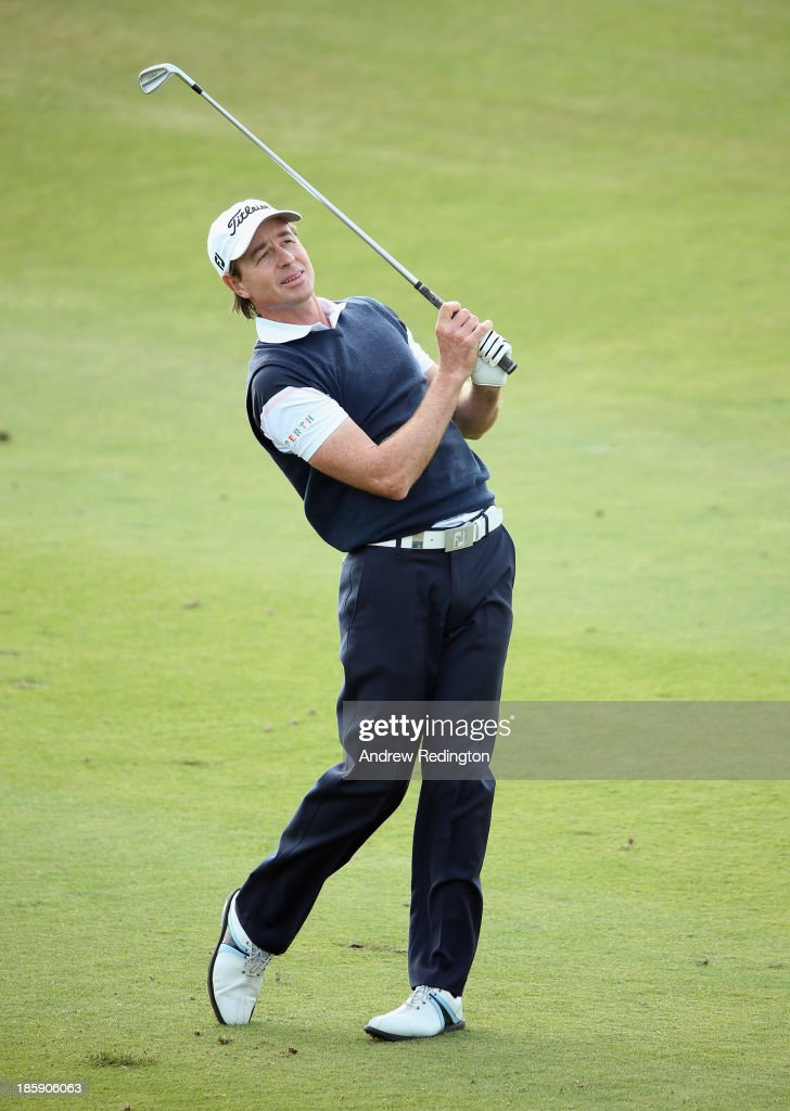 Brett Rumford of Australia in action during the third round of the BMW Masters at Lake Malaren Golf Club on October 26, 2013 in Shanghai, China.