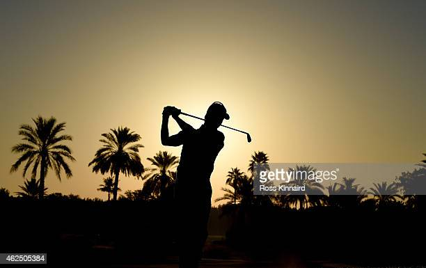 Brett Rumford of Australia on the par five 10th hole during the second round of the Omega Dubai Desert Classic at the Emirates Golf Club on January...