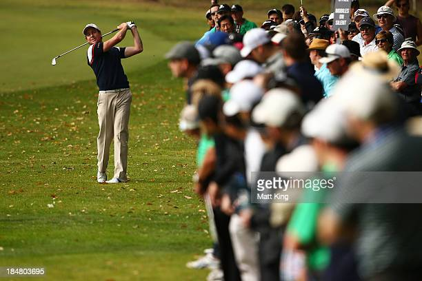 Brett Rumford of Australia palys a shot from the rough during day one of the Perth International at Lake Karrinyup Country Club on October 17 2013 in...