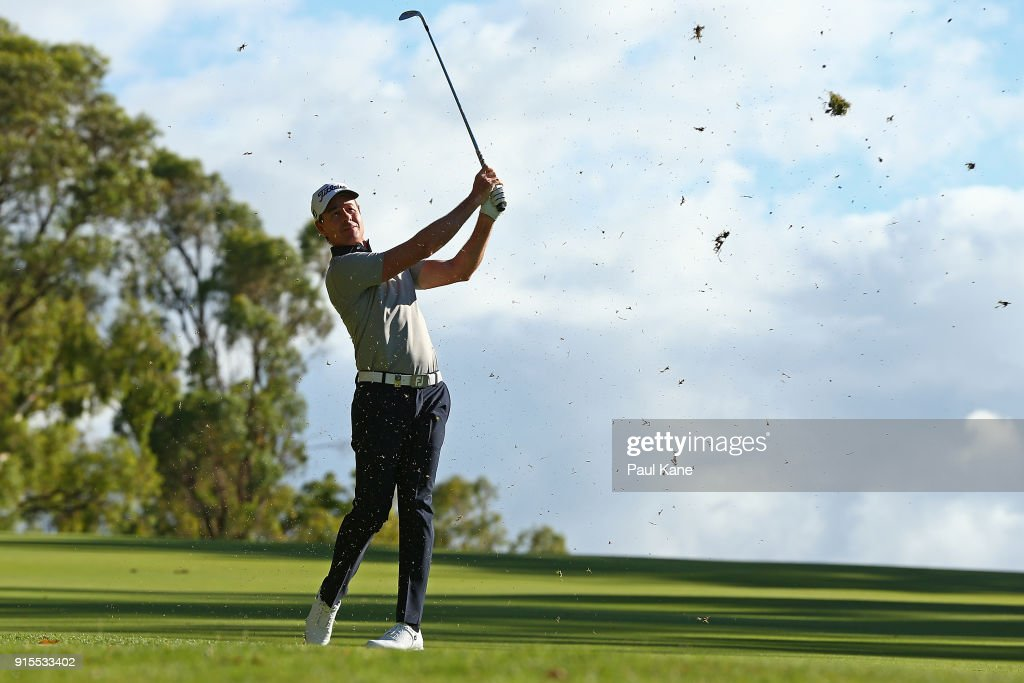 Brett Rumford of Australia plays his second shot on the 13th hole during day one of the World Super 6 at Lake Karrinyup Country Club on February 8, 2018 in Perth, Australia.