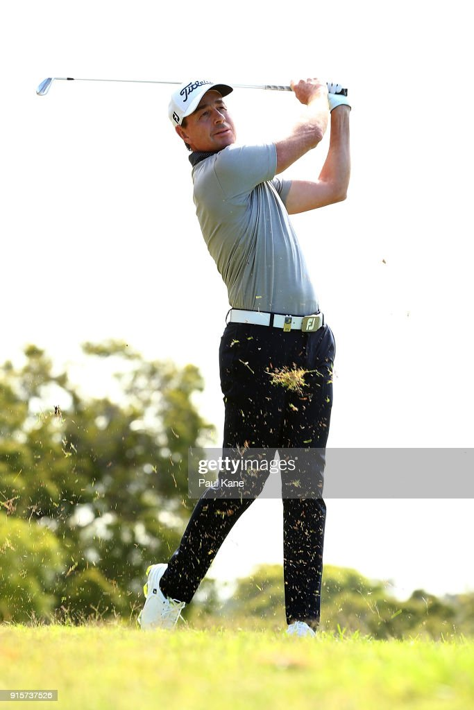 Brett Rumford of Australia plays his second shot on the 18th hole during day one of the World Super 6 at Lake Karrinyup Country Club on February 8, 2018 in Perth, Australia.