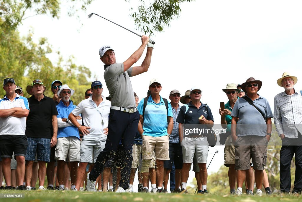 Brett Rumford of Australia plays his second shot on the 7th hole during day one of the World Super 6 at Lake Karrinyup Country Club on February 8, 2018 in Perth, Australia.