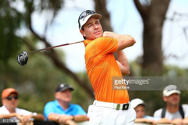 Brett Rumford of Australia plays his tee shot on the 4th hole during day four of the 2016 Perth International at Karrinyup GC on February 28 2016 in...