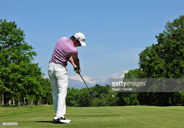 Brett Rumford of Australia plays his tee shot on the fifth hole during the first round of the BMW Italian Open at Royal Park I Roveri on May 7 2009...