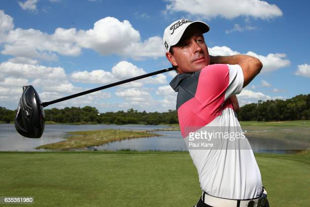 Brett Rumford of Australia poses during previews ahead of the ISPS HANDA World Super 6 Perth at Lake Karrinyup Country Club on February 15 2017 in...