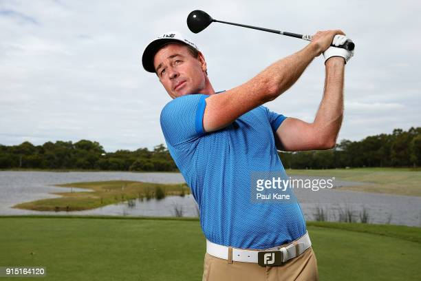 Brett Rumford of Australia poses during the proam ahead of the World Super 6 at Lake Karrinyup Country Club on February 7 2018 in Perth Australia