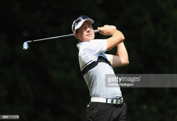 Brett Rumford of Australia tees off on the 2nd hole during day one of the BMW PGA Championship at Wentworth on May 25 2017 in Virginia Water England