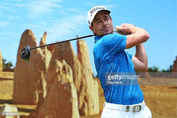 Brett Rumford of Australia watches his tee shot on the 6th hole during day two of the World Super 6 at Lake Karrinyup Country Club on February 9 2018...