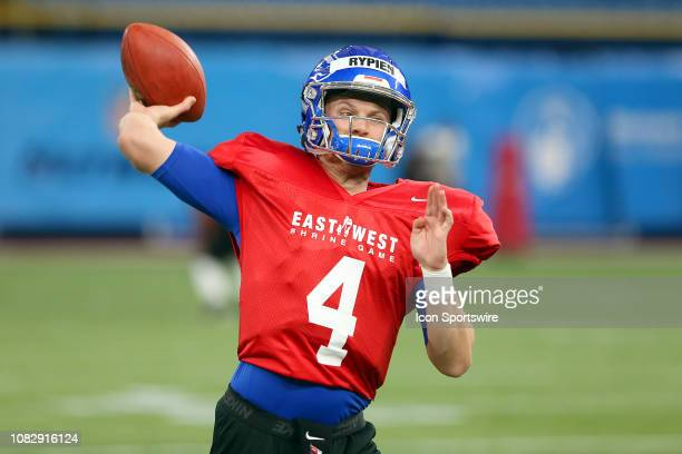 Brett Rypien of Boise State throws the ball downfield during the EastWest Shrine Game Practice on January 14 at Tropicana Field in St Petersburg FL