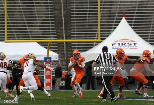 Brett Rypien of the Boise State Broncos throws against the Boston College Eagles during the SERVPRO First Responder Bowl at Cotton Bowl on December...