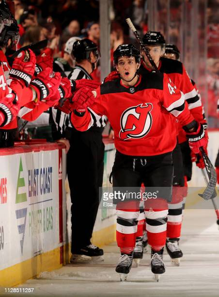 Brett Seney of the New Jersey Devils celebrates his goal in the first period against the Minnesota Wild at Prudential Center on February 09 2019 in...