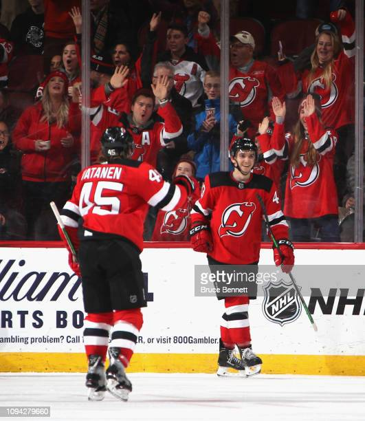 Brett Seney of the New Jersey Devils celebrates his third period goal against the Chicago Blackhawks at the Prudential Center on January 14 2019 in...