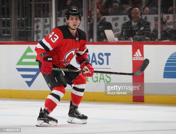 Brett Seney of the New Jersey Devils skates against the Buffalo Sabres at the Prudential Center on February 17 2019 in Newark New Jersey The Devils...