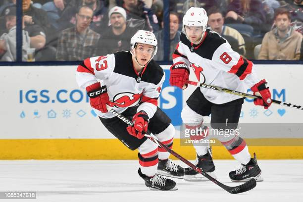 Brett Seney of the New Jersey Devils skates against the Columbus Blue Jackets on December 20 2018 at Nationwide Arena in Columbus Ohio