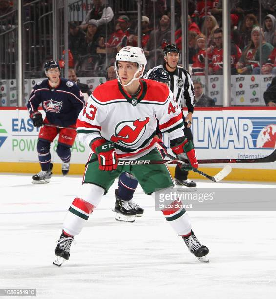 Brett Seney of the New Jersey Devils skates against the Columbus Blue Jackets at the Prudential Center on December 23 2018 in Newark New Jersey The...