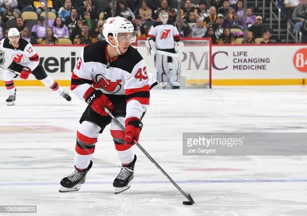 Brett Seney of the New Jersey Devils skates against the Pittsburgh Penguins at PPG Paints Arena on November 5 2018 in Pittsburgh Pennsylvania