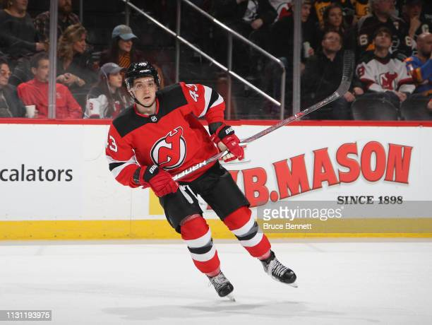 Brett Seney of the New Jersey Devils skates against the Pittsburgh Penguins at the Prudential Center on February 19 2019 in Newark New Jersey The...