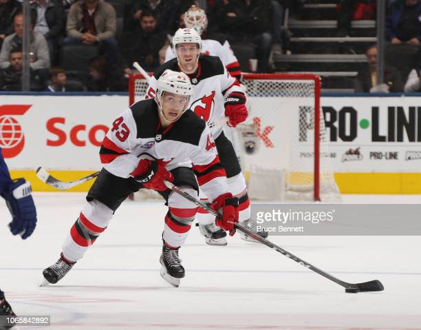 Brett Seney of the New Jersey Devils skates against the Toronto Maple Leafs at the Scotiabank Arena on November 09 2018 in Toronto Ontario Canada The...