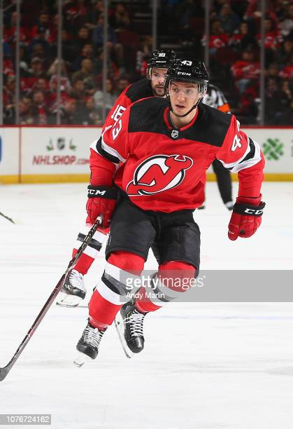 Brett Seney of the New Jersey Devils skates against the Winnipeg Jets during the game at Prudential Center on December 1 2018 in Newark New Jersey