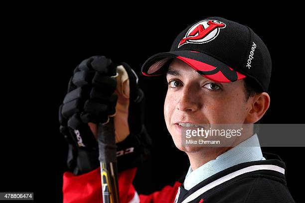 Brett Seney poses for a portrait after being selected 157th by the New Jersey Devils during the 2015 NHL Draft at BBT Center on June 27 2015 in...