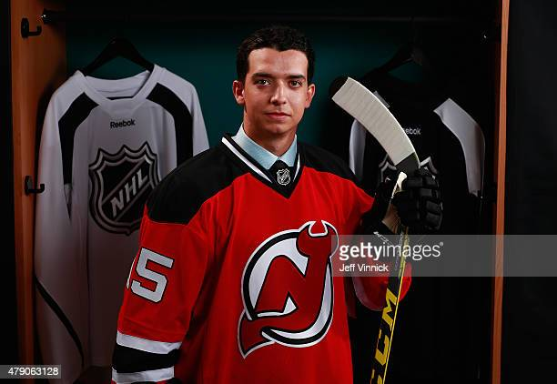 Brett Seney poses for a portrait after being selected 157th overall by the New Jersey Devils during the 2015 NHL Draft at BBT Center on June 27 2015...
