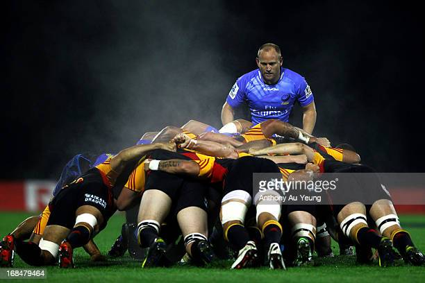 Brett Sheehan of the Force watches on the scrum during the round 13 Super Rugby match between the Chiefs and the Force at ECOLight Stadium on May 10...