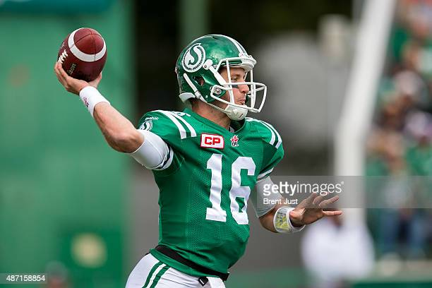 Brett Smith of the Saskatchewan Roughriders throws a pass in the game between the Winnipeg Blue Bombers and Saskatchewan Roughriders in week 11 of...