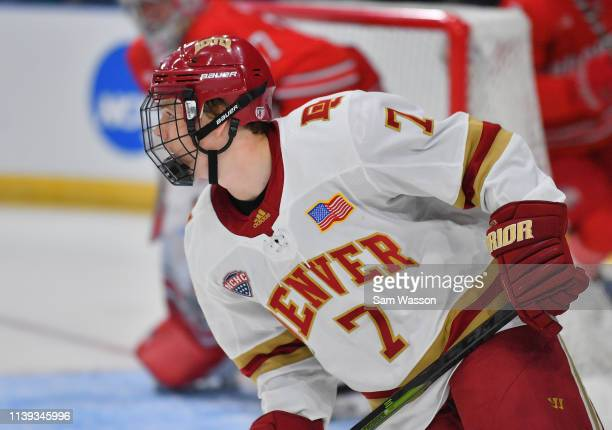 Brett Stapley of the Denver Pioneers looks on during his team's NCAA Division I Men's Ice Hockey West Regional Championship Semifinal game against...