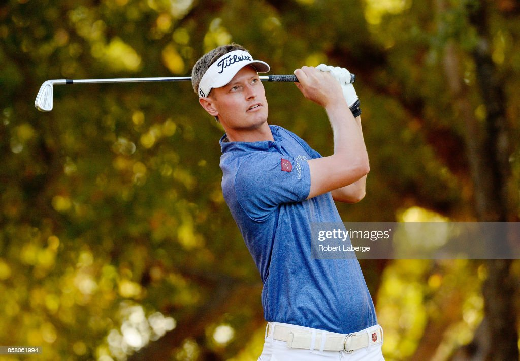 Brett Stegmaier plays his shot from the 15th tee during the first round of the Safeway Open at the North Course of the Silverado Resort and Spa on October 5, 2017 in Napa, California.