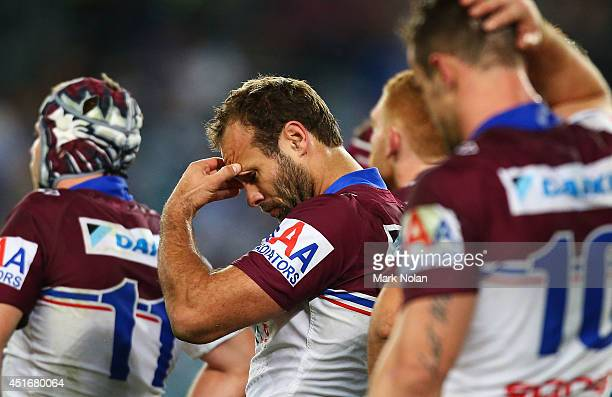 Brett Stewart of the Eagles looks dejected after a try by Corey Thompson of the Bulldogs during the round 17 NRL match between the Canterbury...